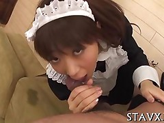 blowjob hardcore sucking asian japanese maid oral stockings