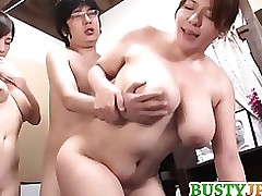double boobsy milfs tag team jock obtain cumming anal asian